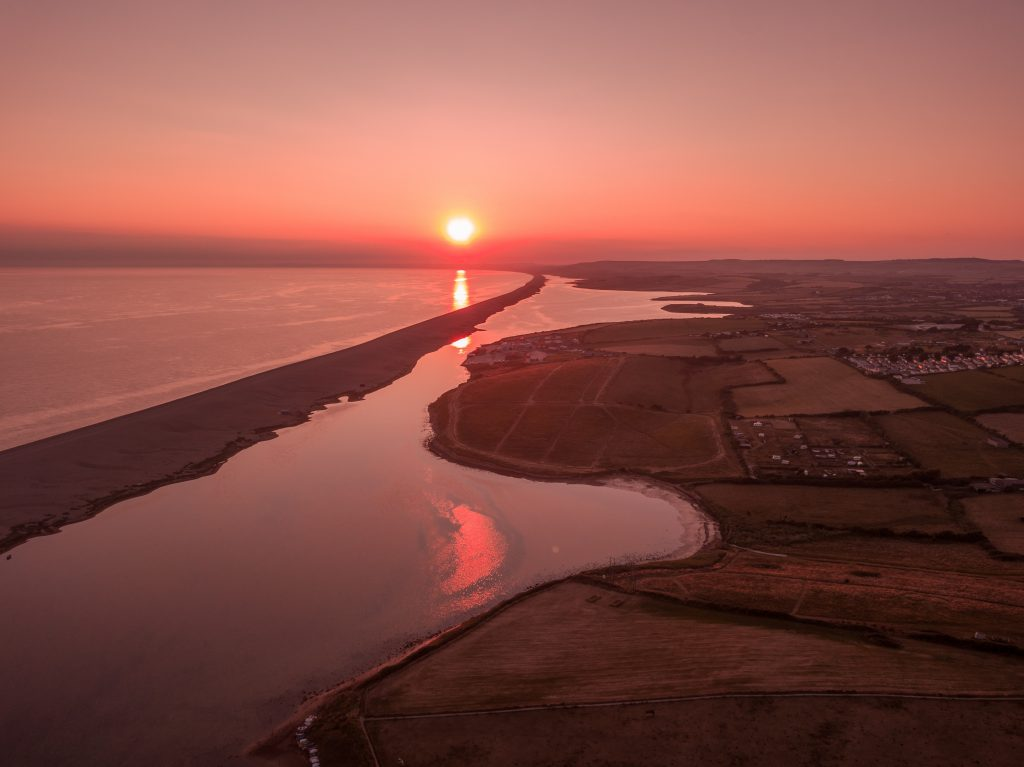 Chesil Beach and Fleet Lagoon at Sunset