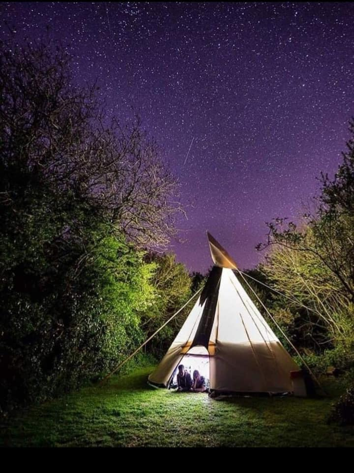 Tipi near sea at Purbeck