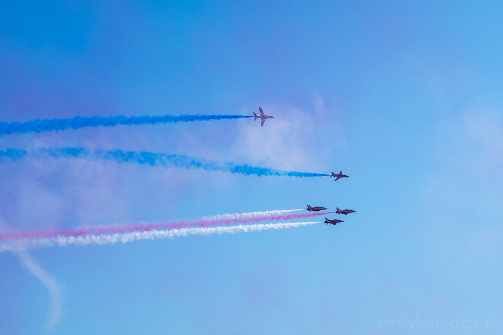 Red Arrows with Coloured Smoke at an Air Festival