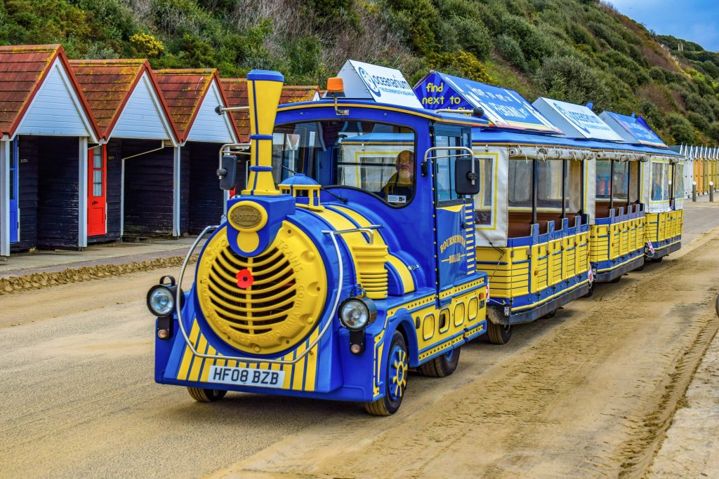 Blue and yellow land train