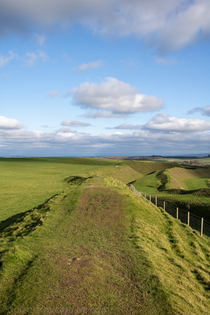 Walk along the ridge at Maiden Castle