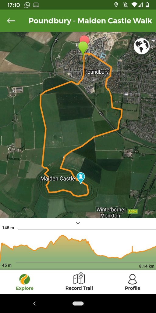 Maiden Castle Walk route map