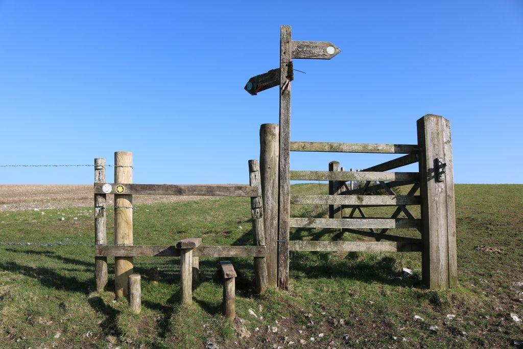 Hilltop gate on the Cerne Abbas Walk Gate