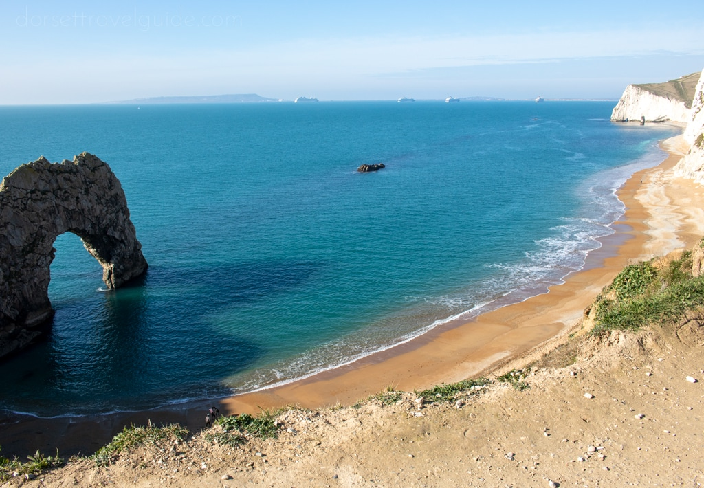 Durdle Door viewed from above after a walk from Lulworth Cove