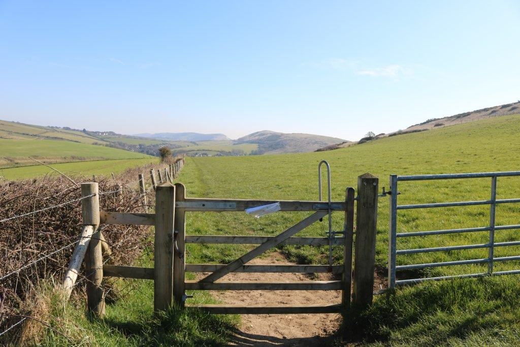 Gate on a country walk at Hambury Tout in Dorset