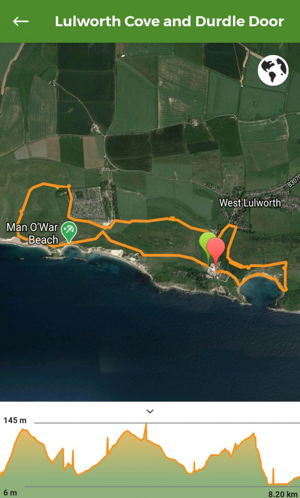 Lulworth Cove and Durdle Door Walk Map
