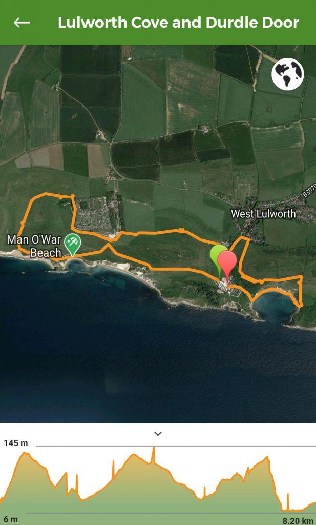 Lulworth Cove and Durdle Door Walk Map
