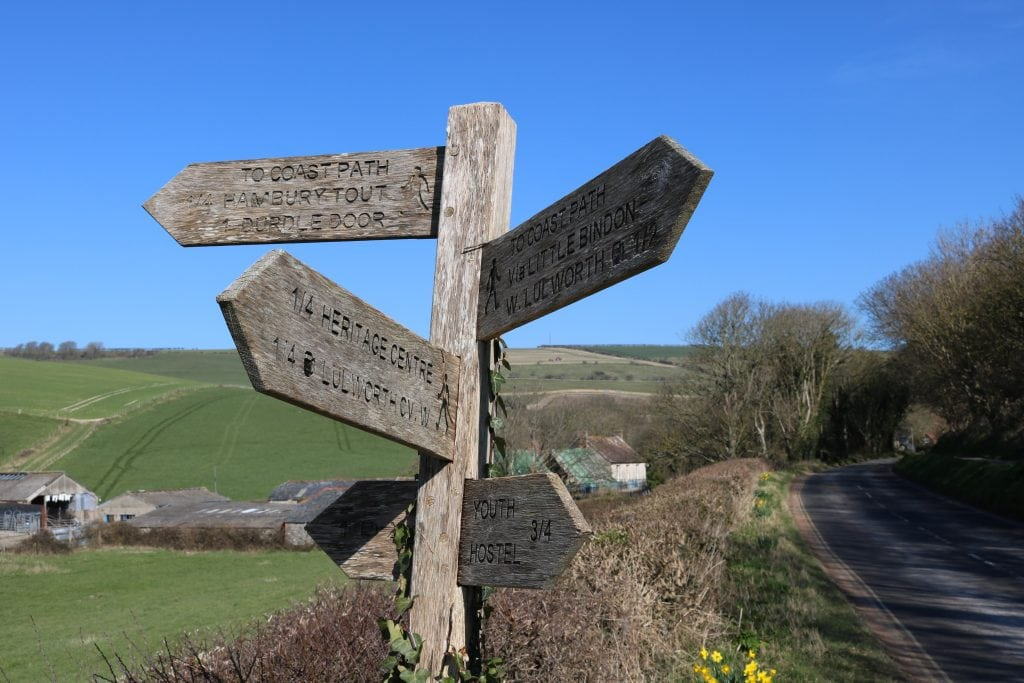 Signpost next to the road at Lulworth