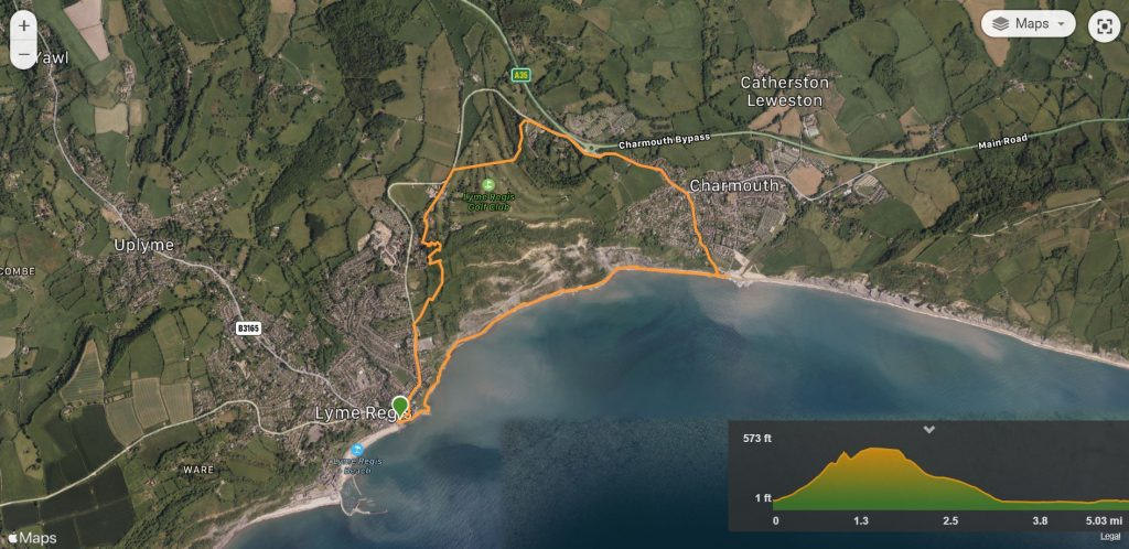 Lyme Regis to Charmouth walk map