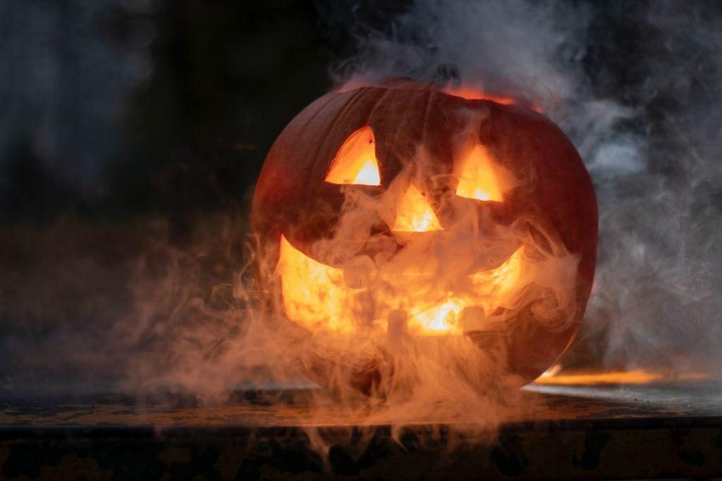 Jack O Lantern Pumpkin with smoke